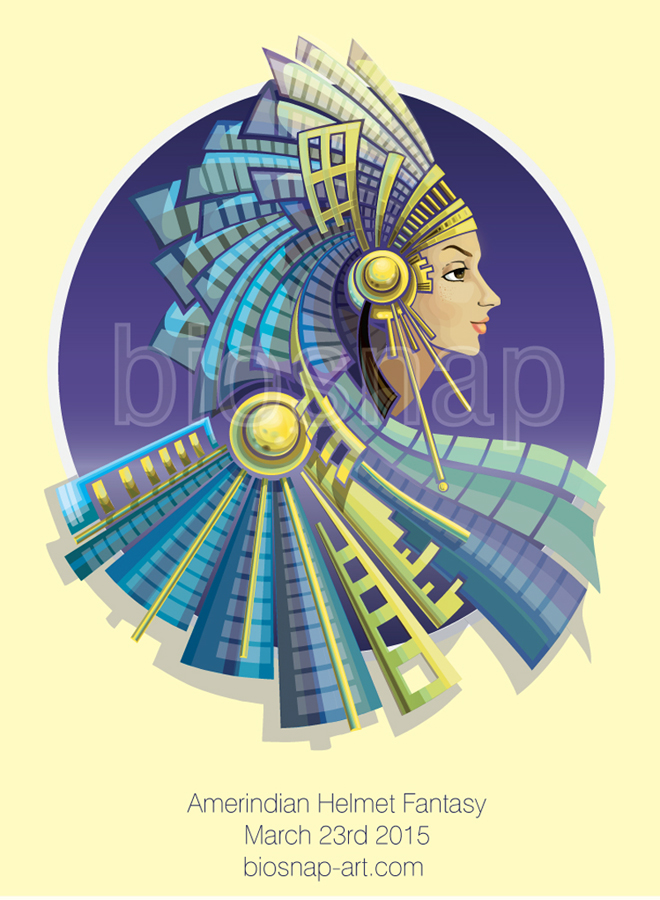Amerindian Helmet Fantasy (practicing with vectors)